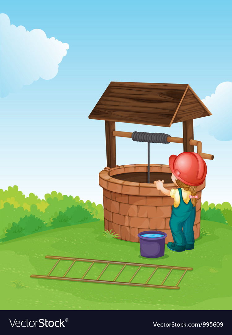 Worker by the well vector image