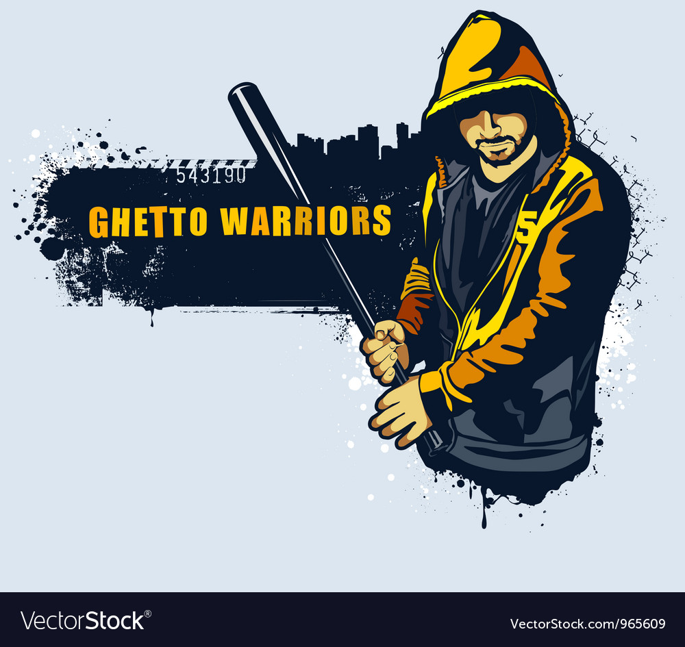 Young gangster with basebal bat vector image