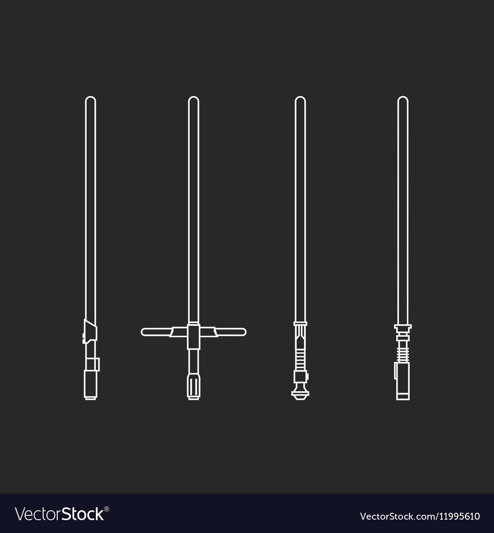 Four light swords vector image