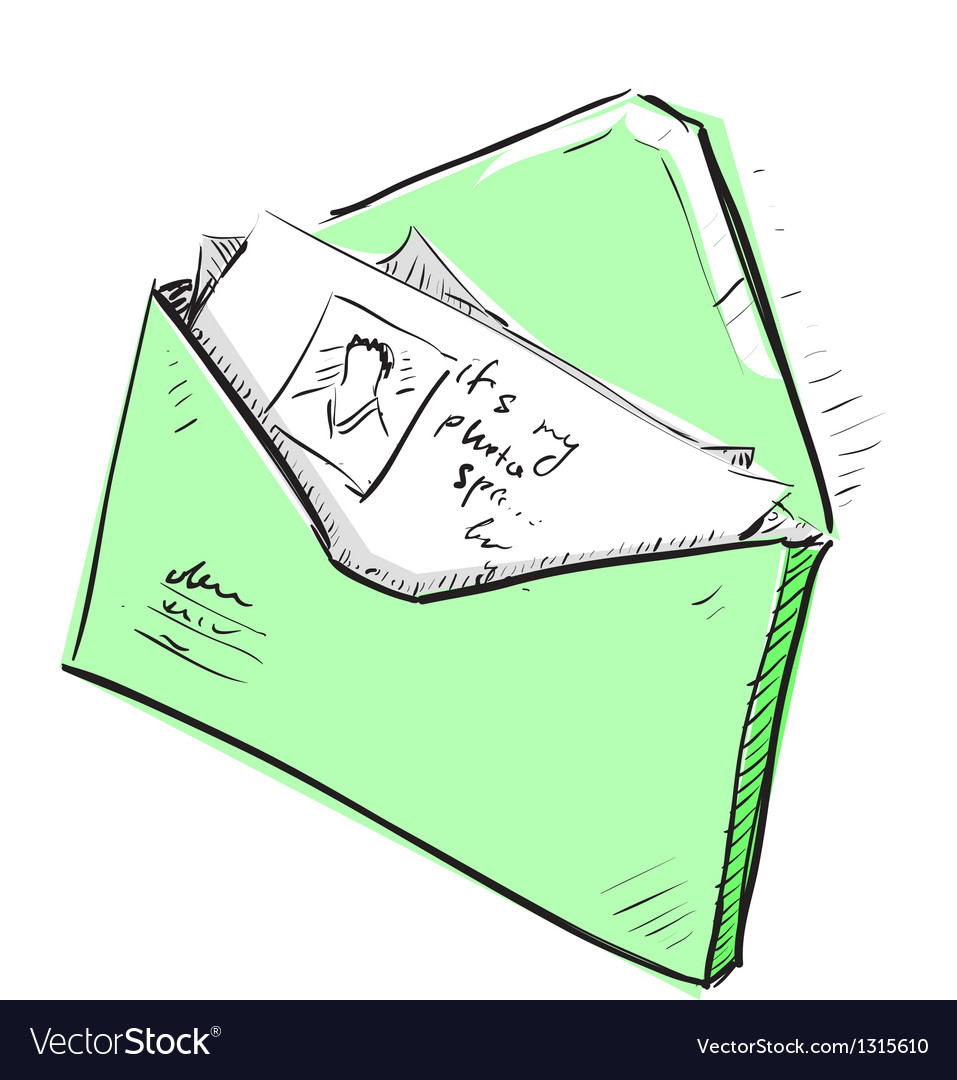 Letter and photos in envelope cartoon icon vector image