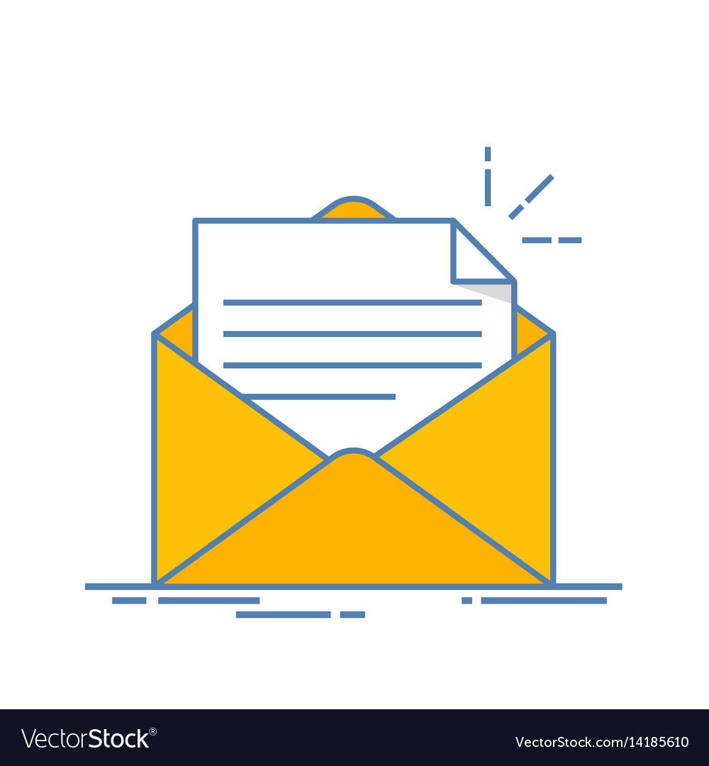 Open envelope with a document new letter sending vector image