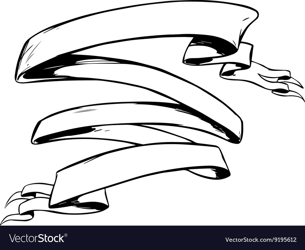 Tattoo Outlines Banner: Tattoo Ribbon Banner Royalty Free Vector Image