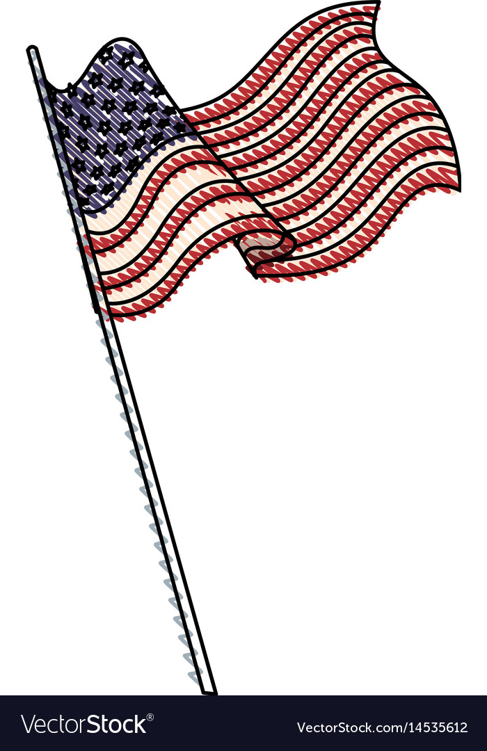 Drawing united states of america flag with pole vector image