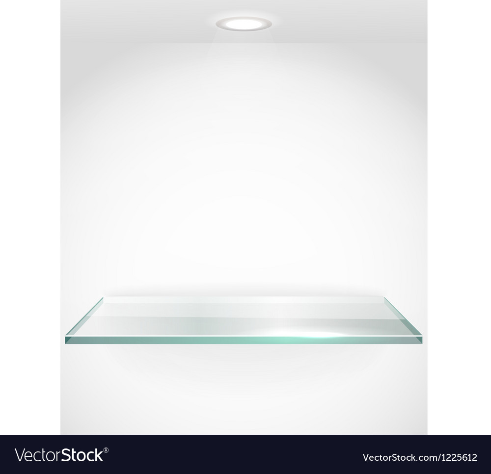 Square advertising glass board with a spot lignt vector image