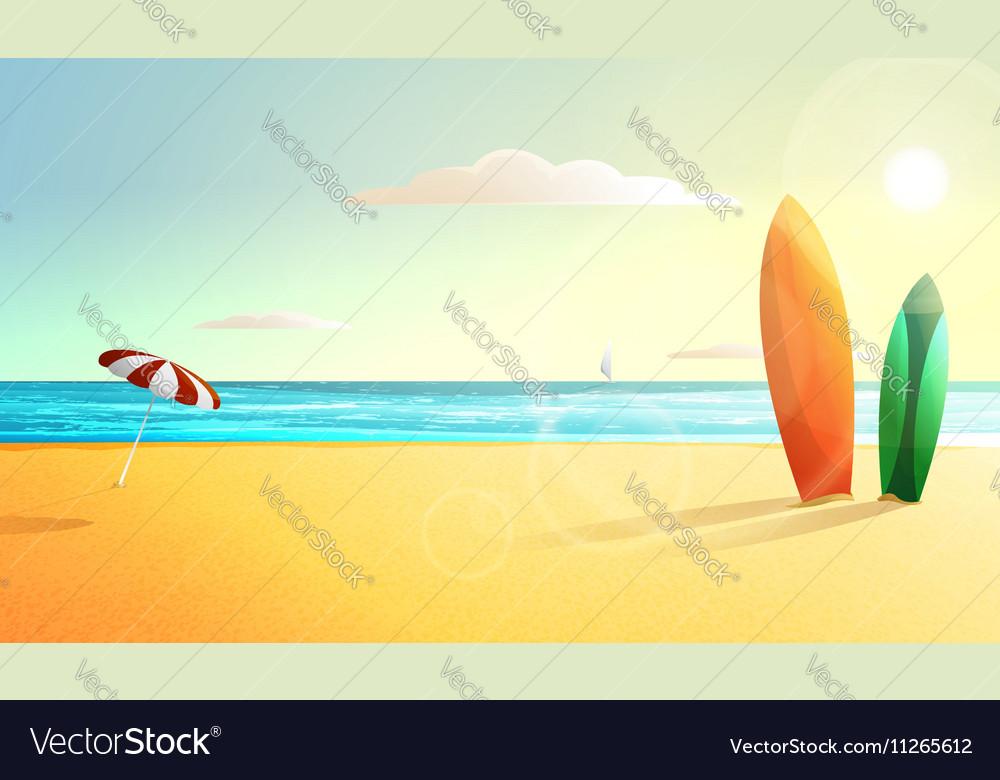Sunny summer beach panorama Surfing vector image