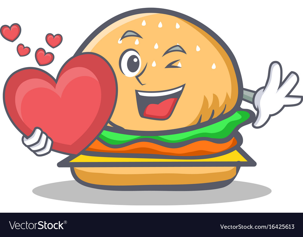 Burger character fast food with heart vector image