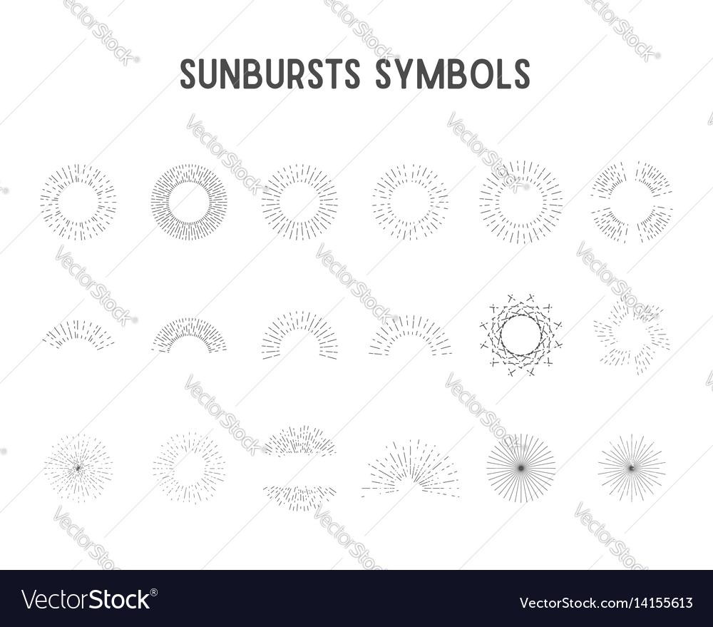 Set of vintage sunbursts star lights sillhouette vector image