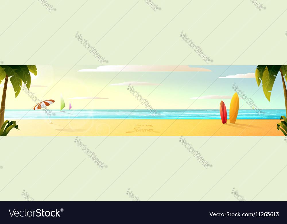 Sunny summer beach panorama vector image