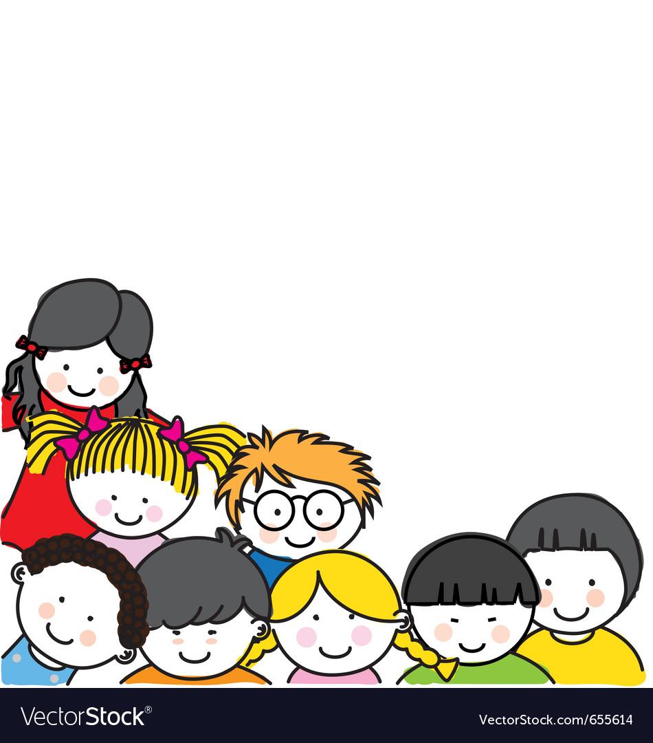 Cute cartoon kids frame vector image