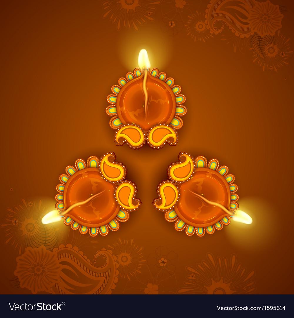 Decorated Diya for Diwali Holiday vector image