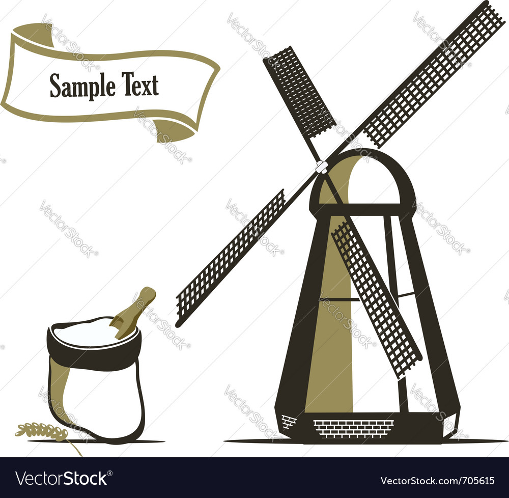 Mill and flour emblems vector image