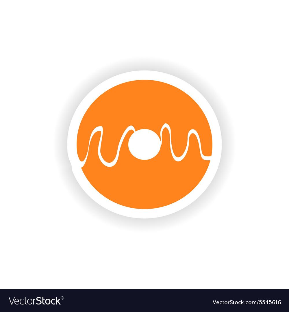 Icon sticker realistic design on paper donut