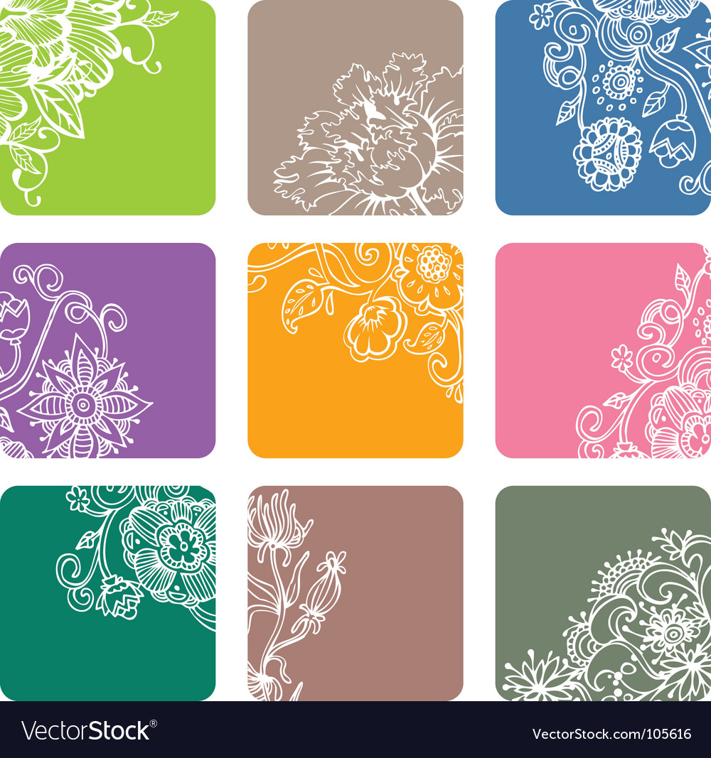 Floral tiles vector image