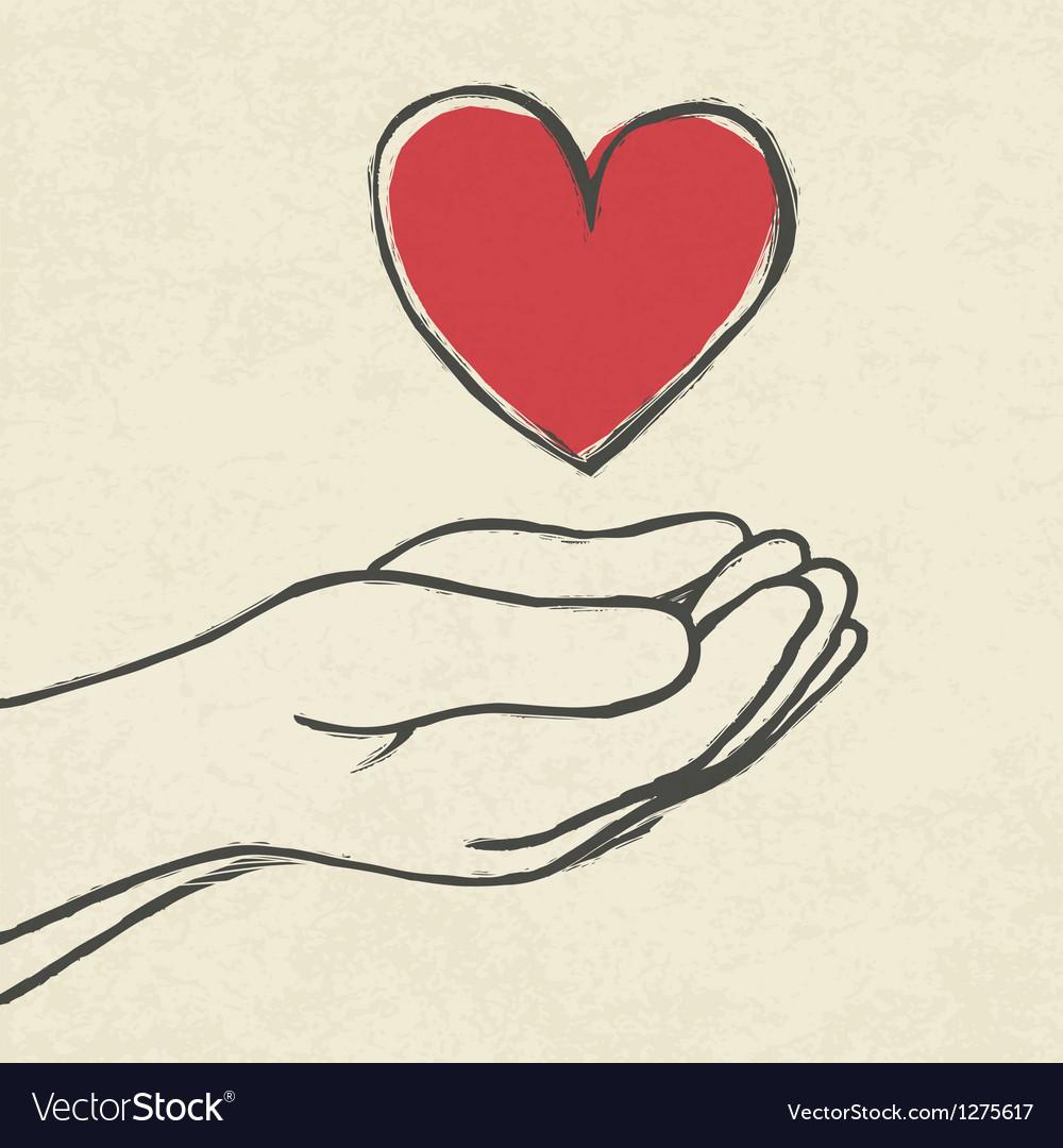 Heart in hands vector image