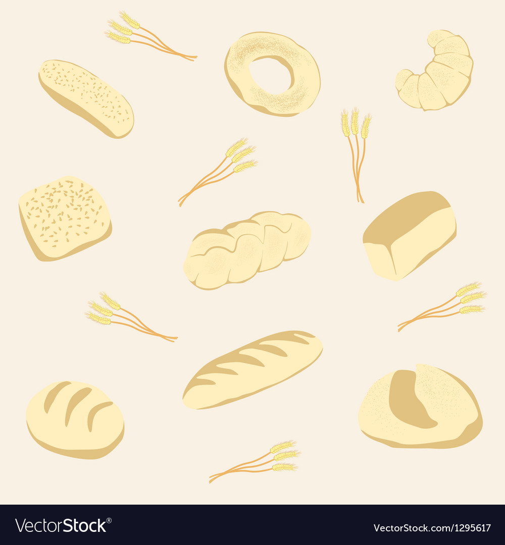 Background from bread and fancy bread vector image