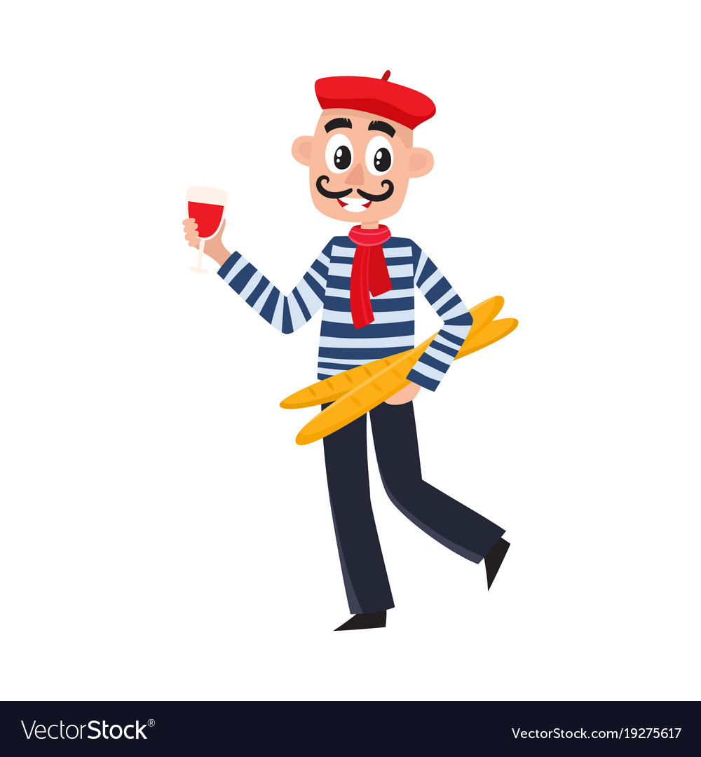 French man striped shirt beret wine baguettes vector image for French striped shirt and beret