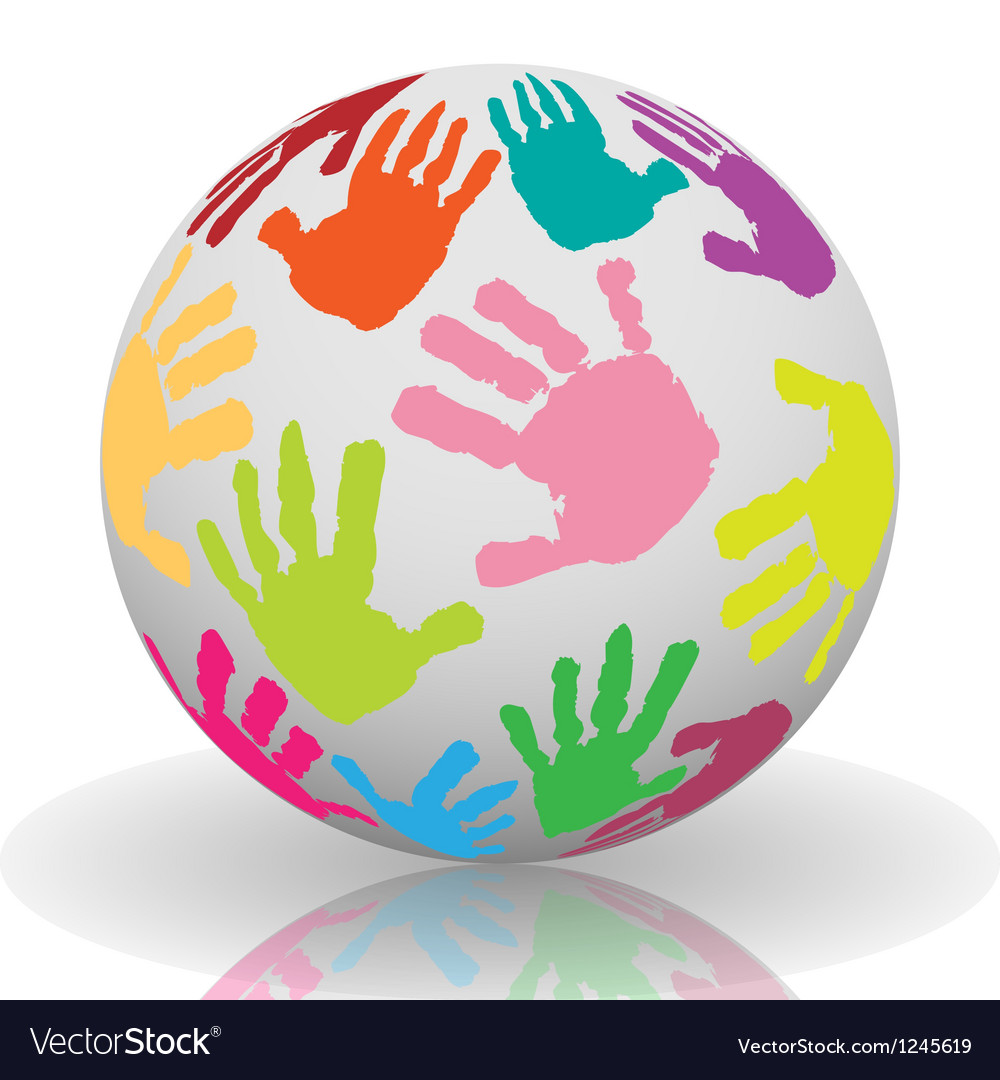 Hand print on the ball Vector Image