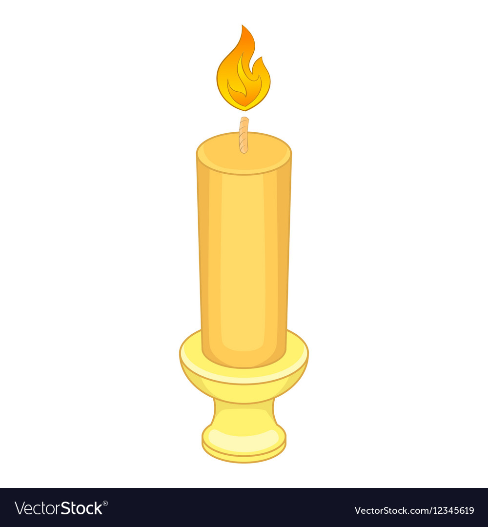Candle with candlestick icon cartoon style vector image