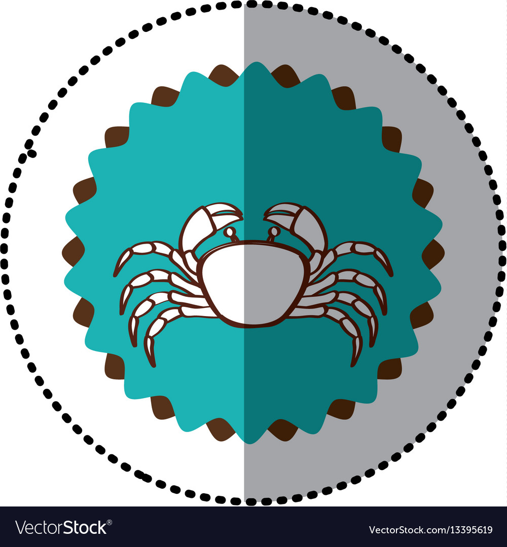 Sticker old stamp border with silhouette of crab vector image