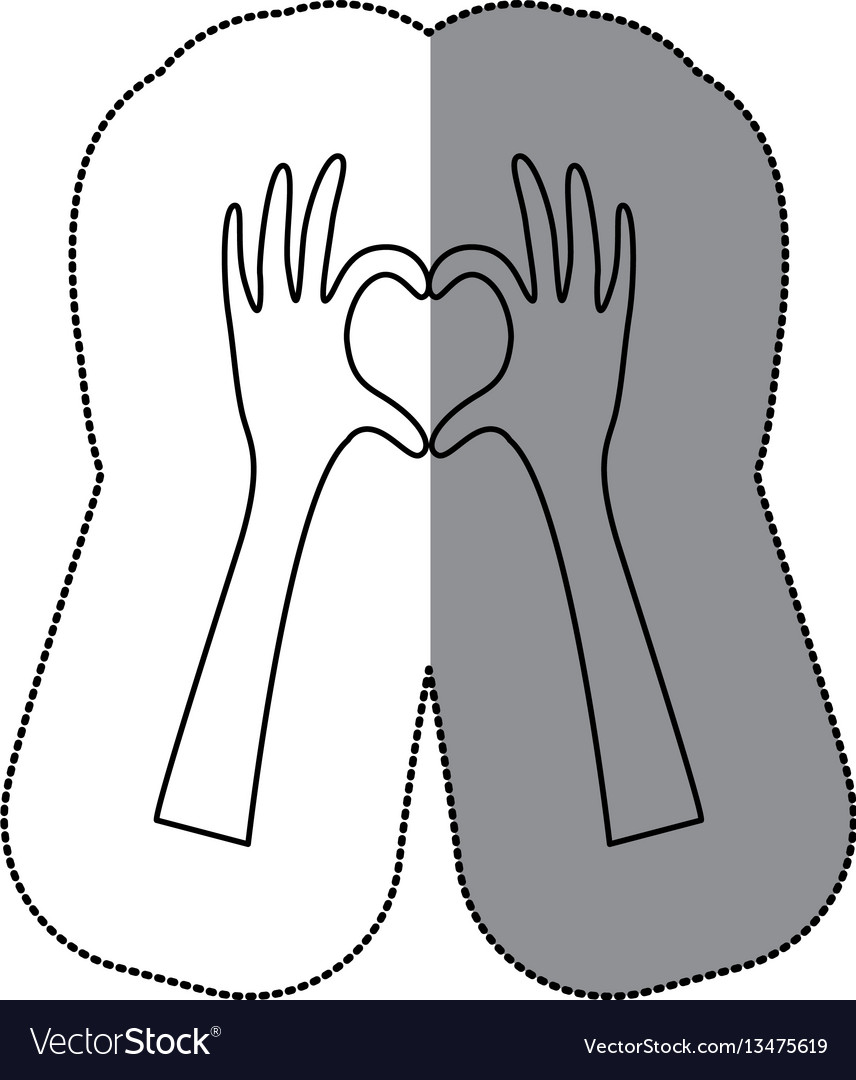 Sticker silhouette hands forming heart icon flat vector image