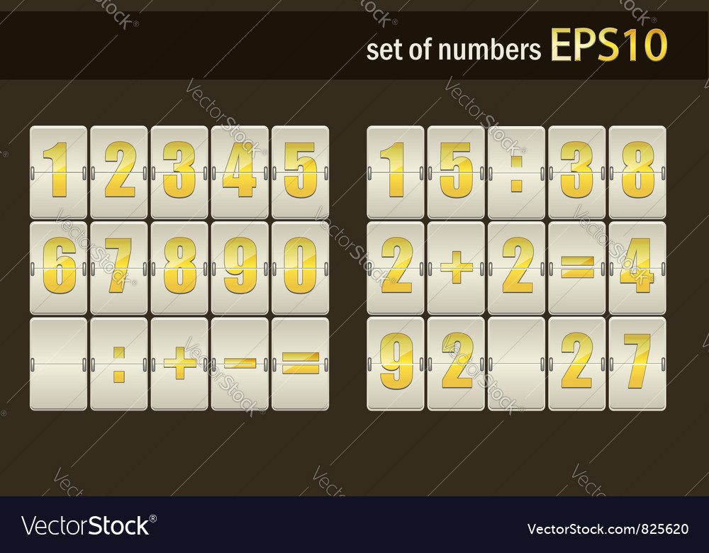 Number set from 1 to 9 vector image