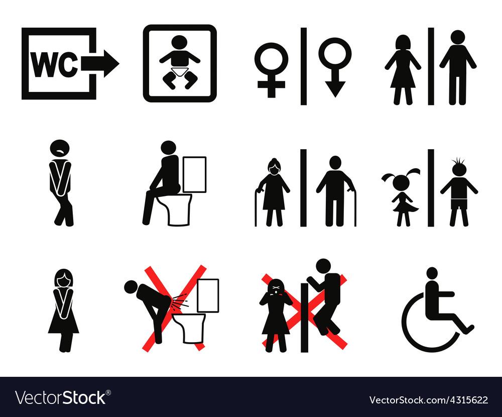 Black Bathroom Symbol Vector Image