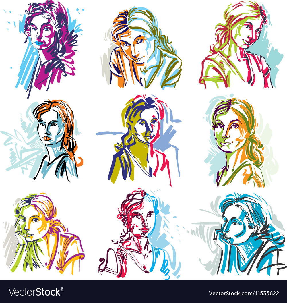 Set of art portraits of females drawn in vector image
