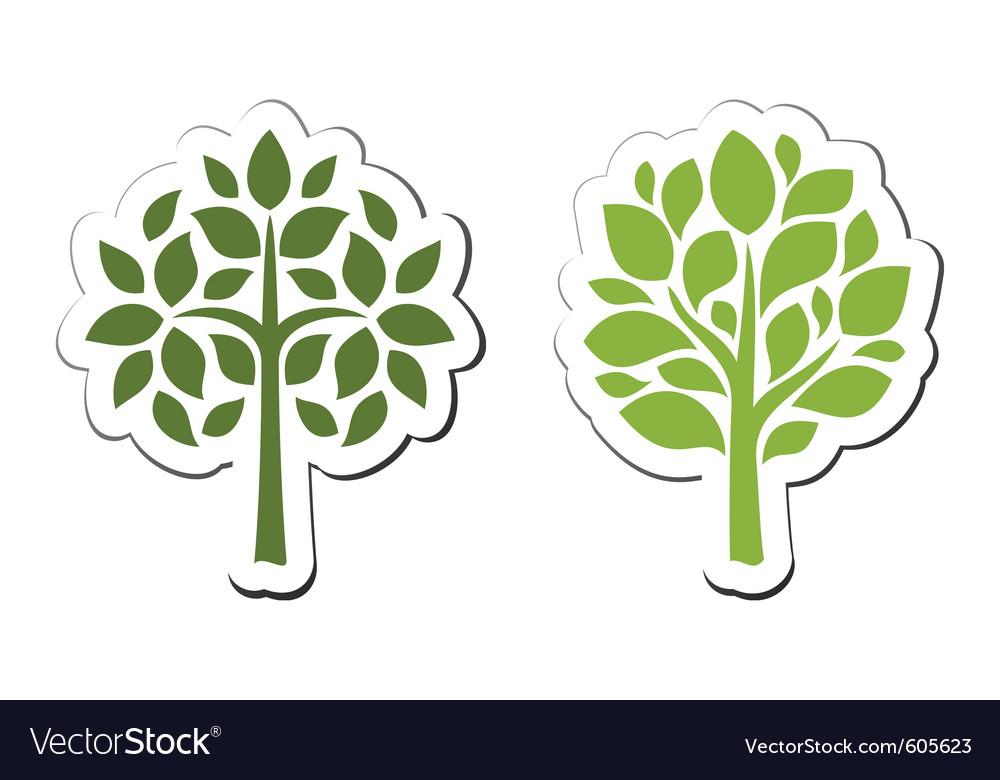 Tree emblem 2 isolated on white vector image