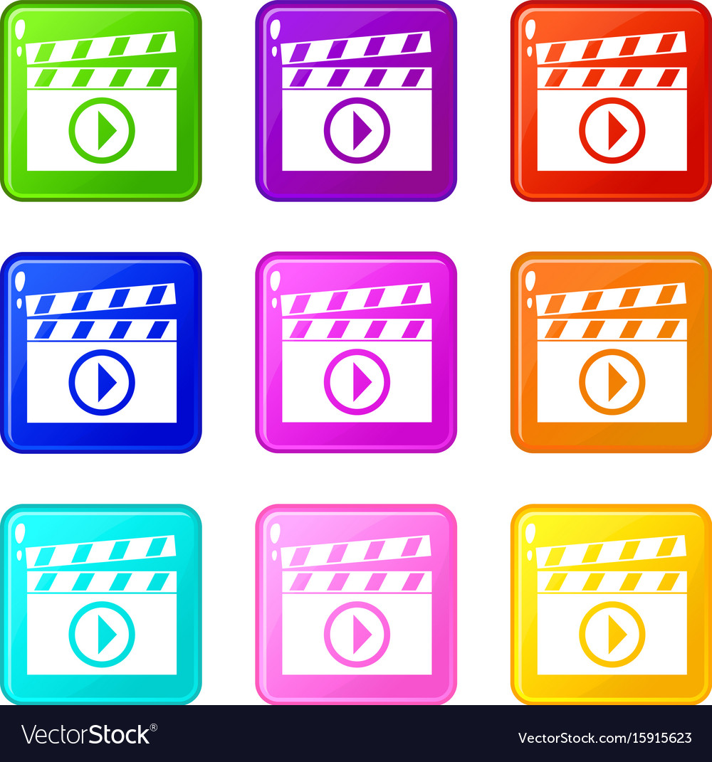 Clapperboard for movie shooting icons 9 set vector image clapperboard for movie shooting icons 9 set vector image biocorpaavc