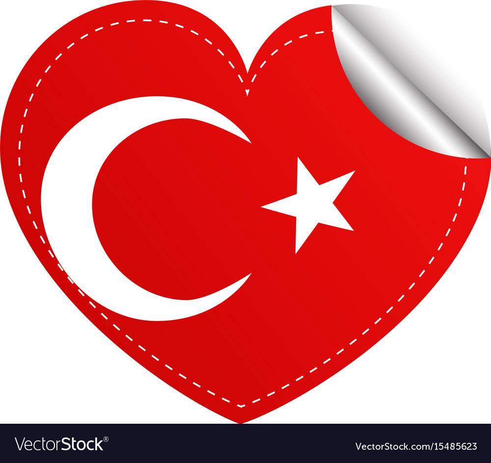 Sticker design for turkey flag in heart shape vector image