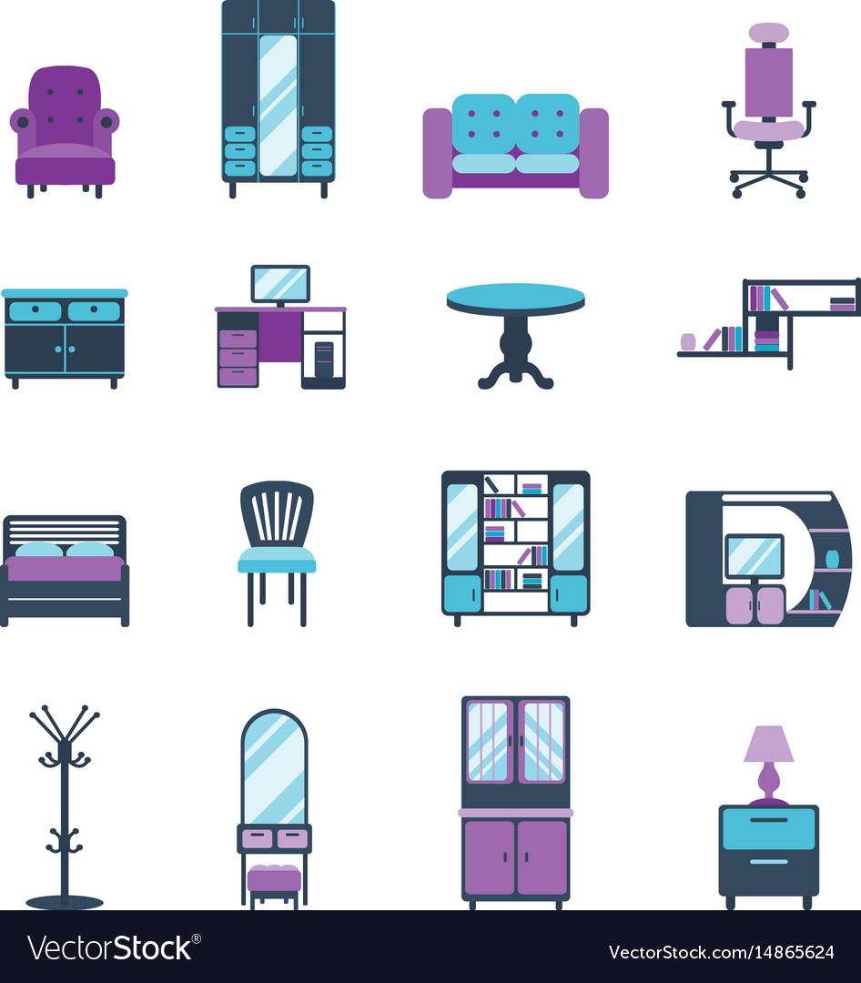 Furniture Icons Home Design Modern Living Room Vector Image