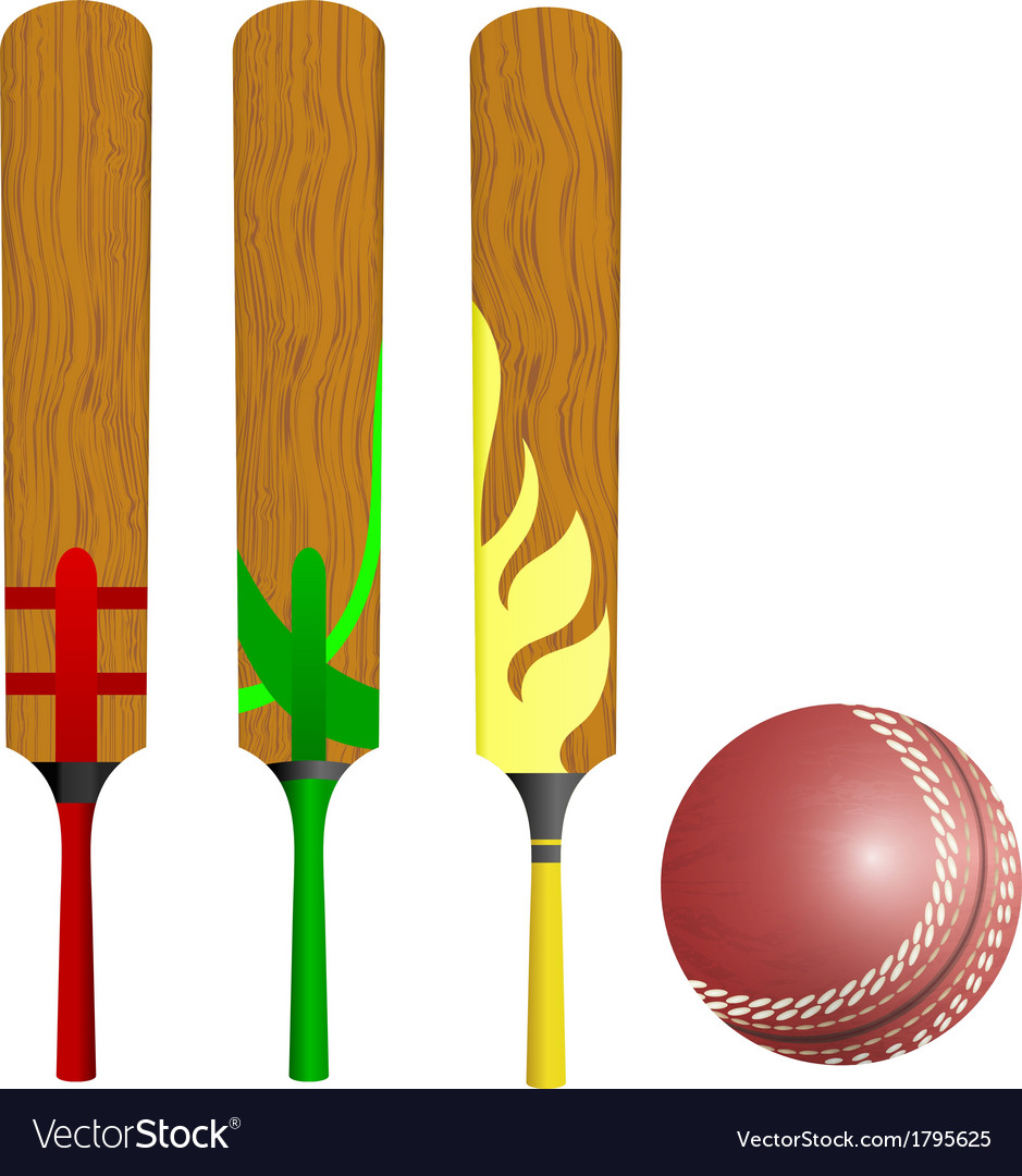 cricket bats and ball royalty free vector image