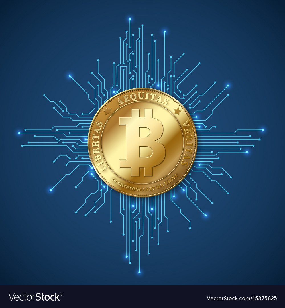 Crypto currency bitcoin net banking and bitcoins vector image