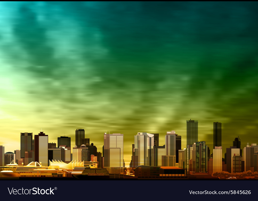 Abstract green sunset background with panorama of vector image