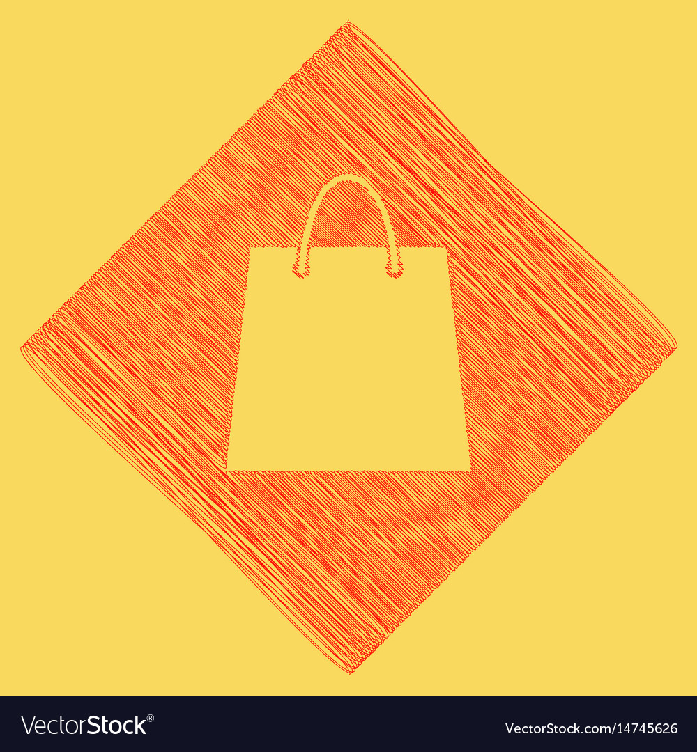 Shopping bag red scribble vector image
