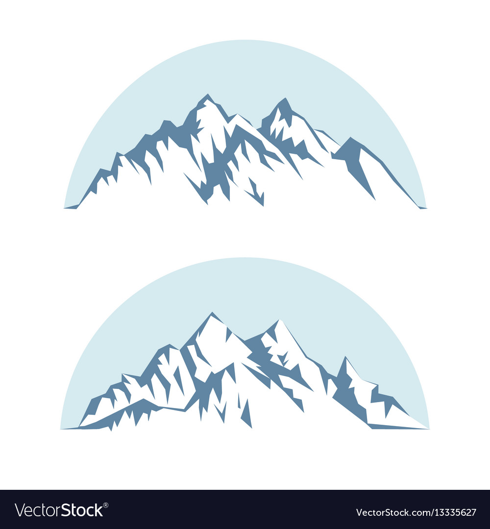 Graphic silhouette of the mountains against the vector image