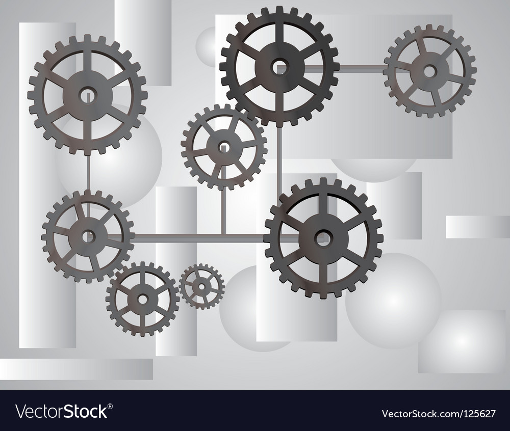 Gray background with the gears vector image