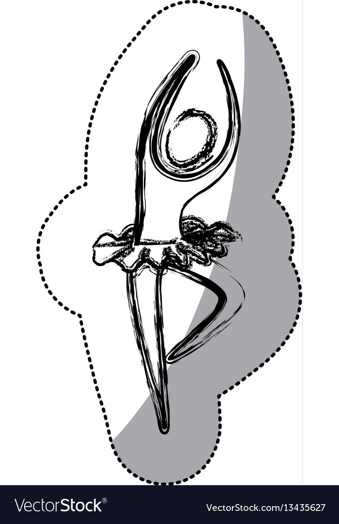 Silhouette woman practicing ballet icon vector image