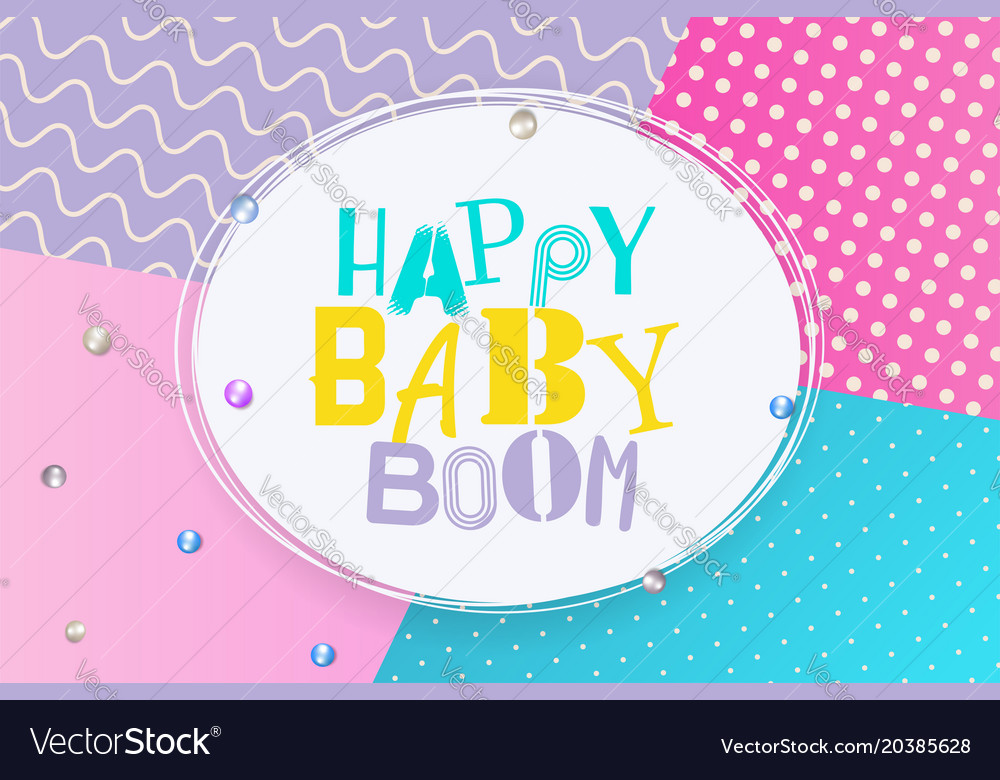 Happy Birthday Design Vector ~ Baby boom happy birthday memphis style royalty free vector