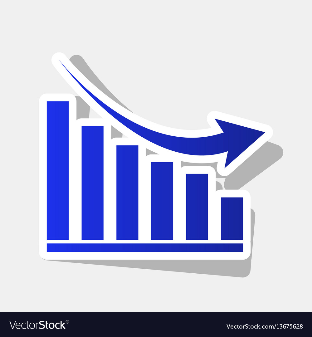 Declining graph sign new year bluish icon vector image