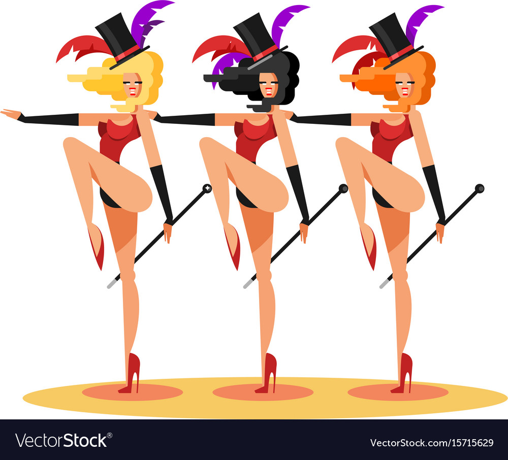 Cabaret dance girls vector image