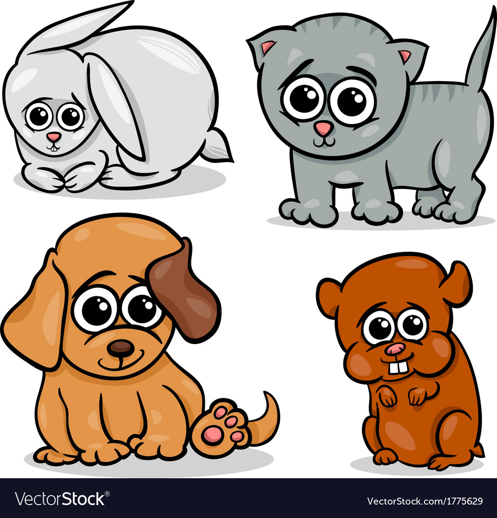 Cartoon cute pets animals set vector image