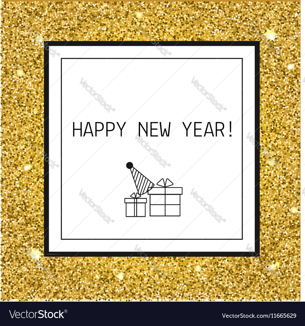 Happy New year Christmas greeting card with gold vector image