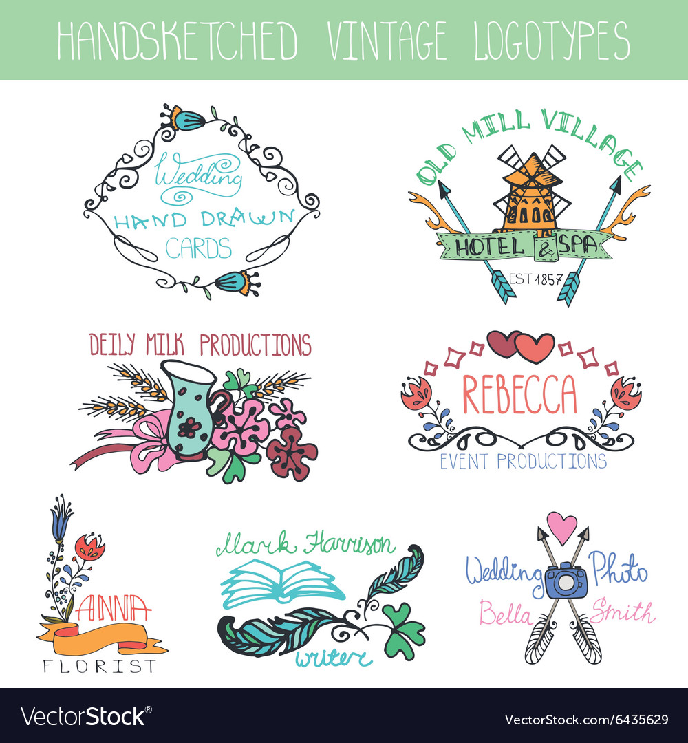 Vintage floral logotype setDoodle hand drawing vector image