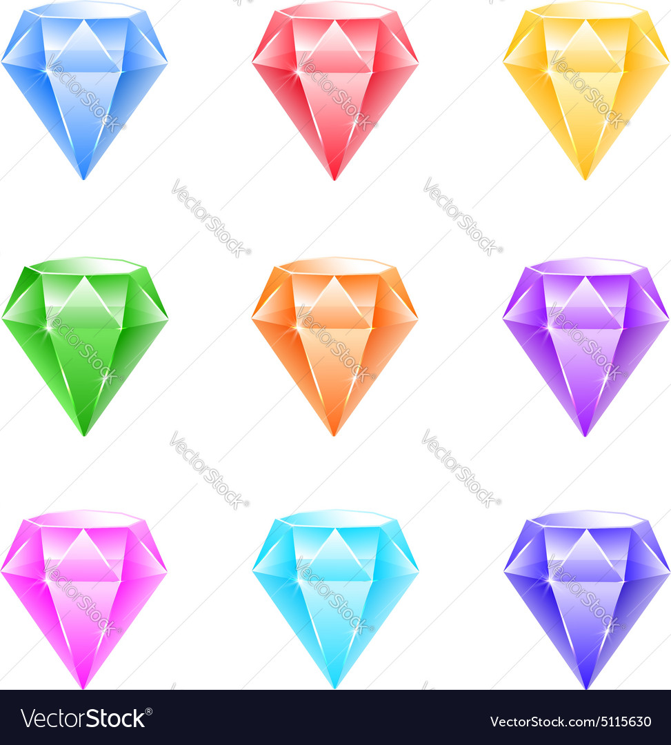 Gems and diamonds icons set vector image