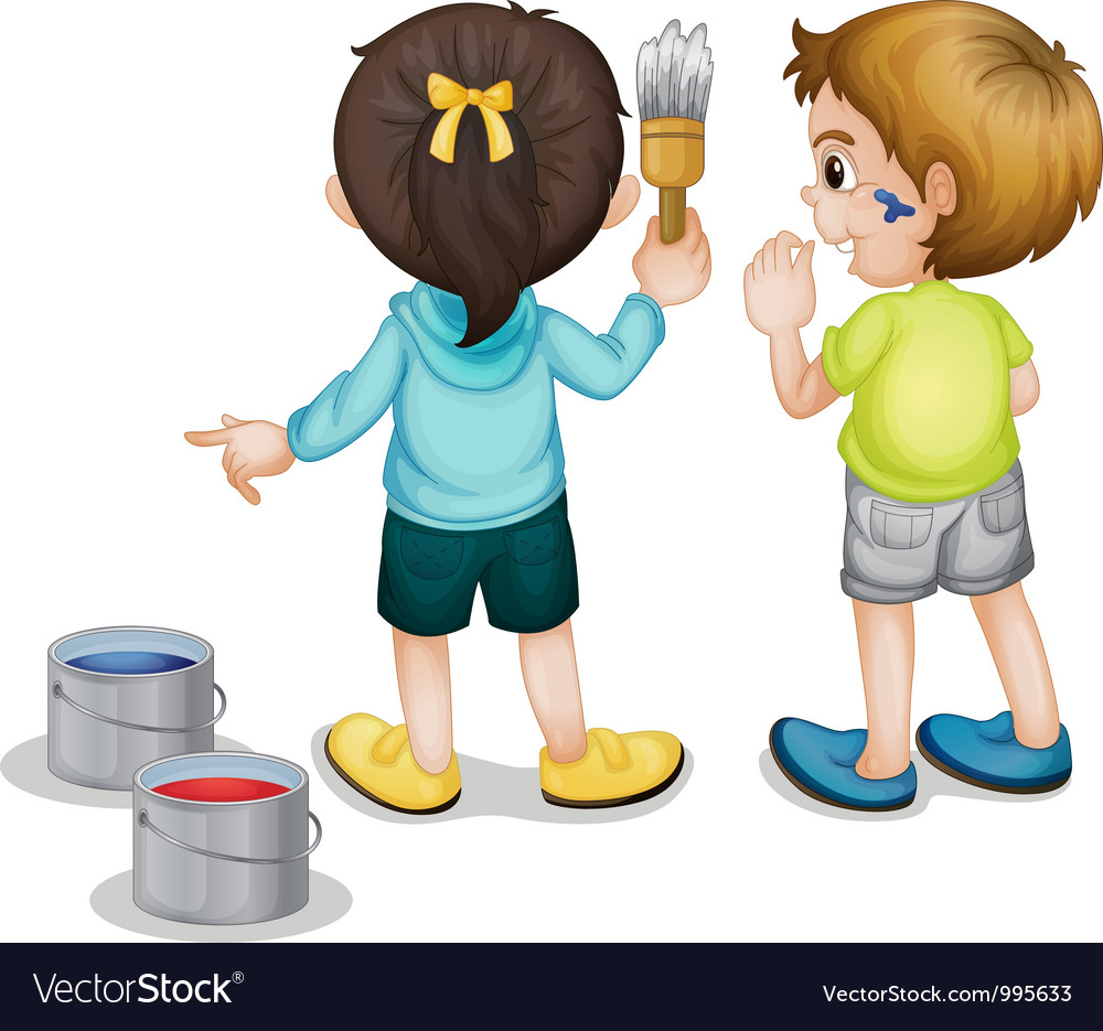 Children Painting vector image