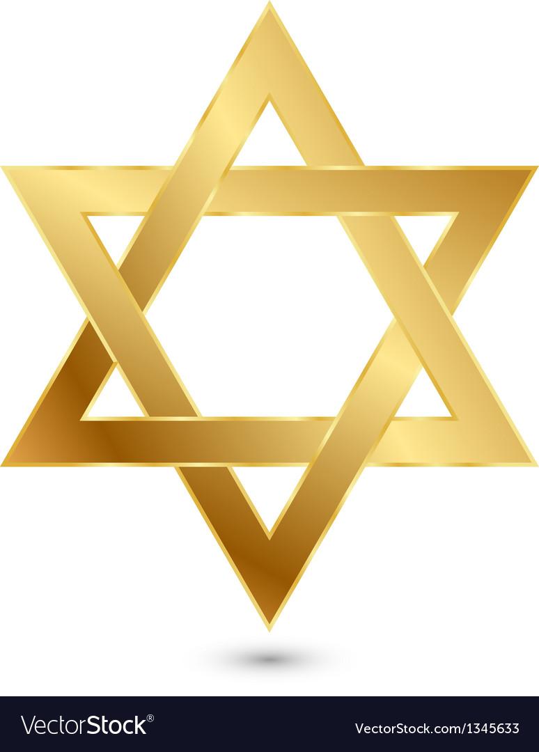 Golden Magen David star of David vector image