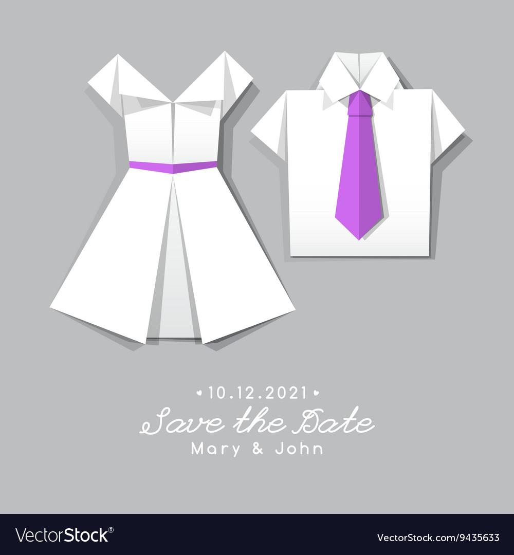 Origami dress and shirt wedding invitation vector image jeuxipadfo Choice Image