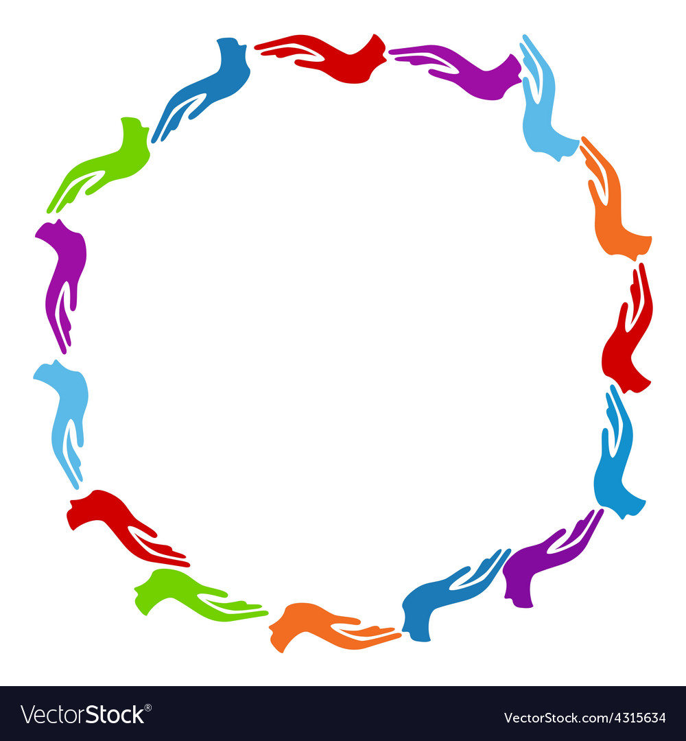 Colorful Hands Circle vector image