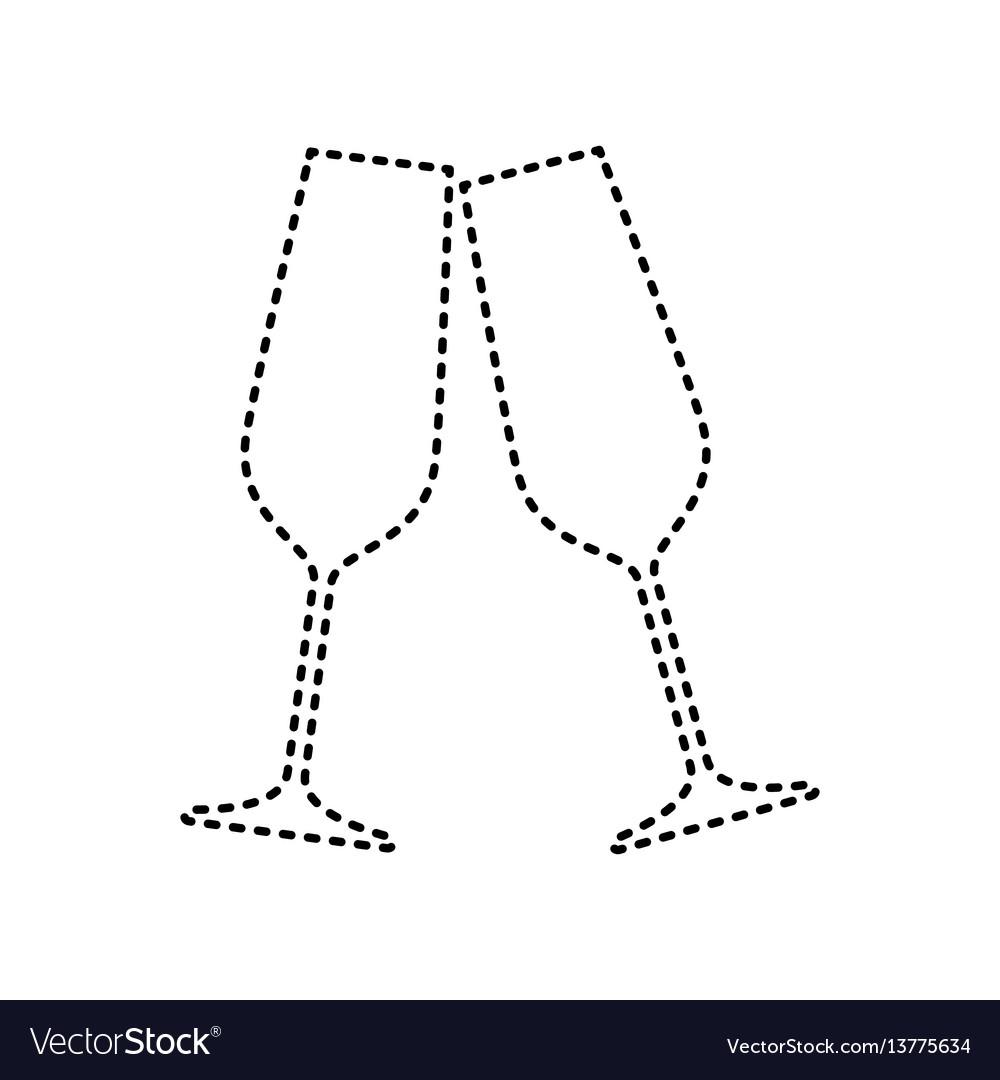 Sparkling champagne glasses black dashed vector image